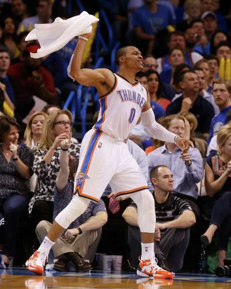 Thunder guard Russell Westbrook got the last laugh Tuesday night. Photo: Sue Ogrocki, STF / AP