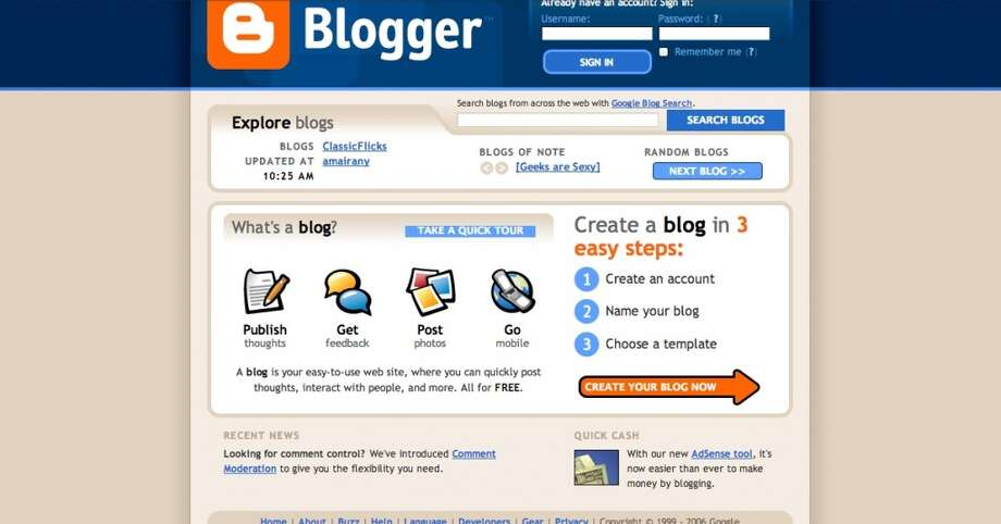 "Diaries went digital in the '90s in the from of web logs, or ""blogs"". Blogs, like the one hosting this slideshow, have become major publishing tools for news organizations and other companies hoping to get their message out. Photo: Wayback Machine"