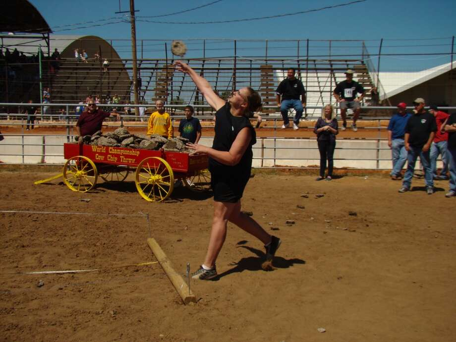 World Championship Cow Chip Throwing Contest Today, locals have taken a different spin to honor the cow chip history, hosting a competition to see who can throw the cow chips the farthest distance from the wagon.  Photo: Beaver County Chamber Of Commerce