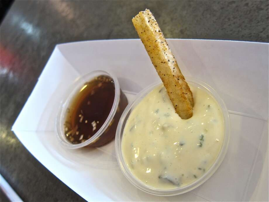 House-made tartar sauce and malt vinegar mignonette sauces at Good Dog Houston. Photo: Alison Cook