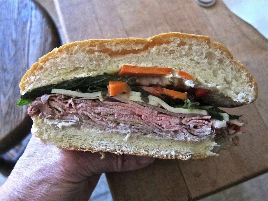 The roast beef sandwich with house made giardiniera pickles and horseradish from Good Dog Houston. Photo: Alison Cook