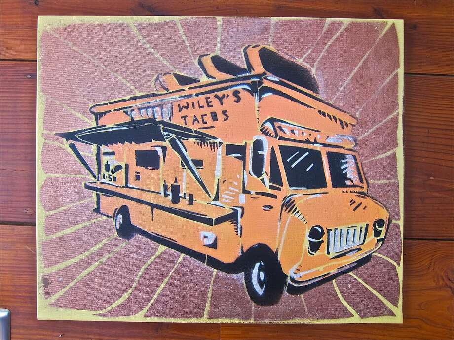 One of Houston street artist Wiley Robertson's food-truck pieces at Good Dog Houston. Photo: Alison Cook