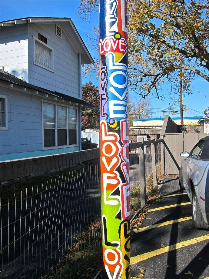 The Wiley Robertson telephone pole in the parking lot of Good Dog Houston. Photo: Alison Cook