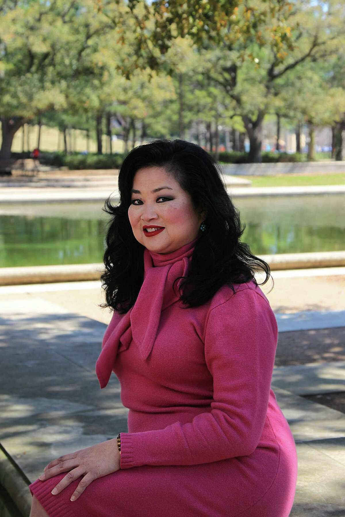 Gigi Huang photographed at Hermann Park Reflecting Pool. Huang is the new marketing manager for the upcoming Yauatcha restaurant opening in the Galleria in late March 2017.