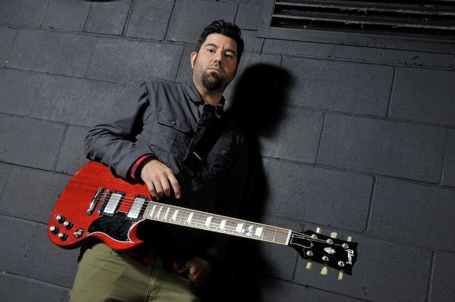 MANCHESTER, UNITED KINGDOM - FEBRUARY 18: Chino Moreno, lead vocalist and guitarist of American alternative metal band Deftones, photographed during a portrait shoot backstage at the Manchester Academy, February 18, 2013. Photo: Total Guitar Magazine / 2013 Future Publishing