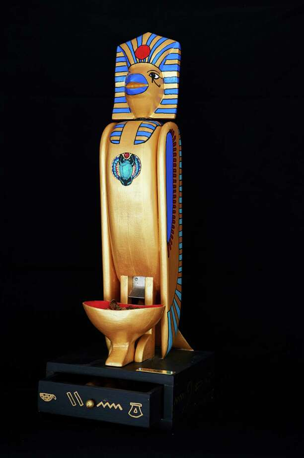 "Weston artist Drew Klotz's ""King Nutankhamon"" combines elements of flight with a name borrowed from a pharaoh -- sort of. The ornate birdhouse will be on display in downtown Westport beginning with the Thursday evening, March 20, Birdhouse Stroll. Scores of creative birdhouses will be auctioned off in April to benefit Project Return. Westport CT. March 2014. Photo: Westport News/Contributed Photo / Westport News"