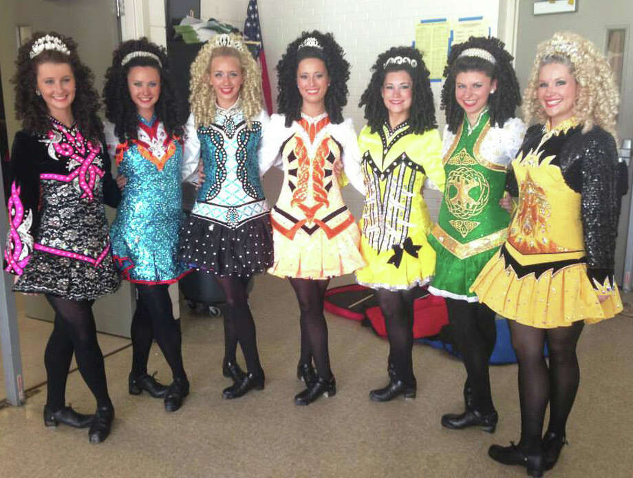 A dance troupe from the Lenihan School of Irish Dance will be performing at Pequot Library on March 15. The dancers are, from left: Elizabeth Croker, Grace Kiley, Jamie Rush, Bree Callahan, Erin Kiley, Erin Duffy and Erin Collins. Photo: Contributed Photo / Fairfield Citizen