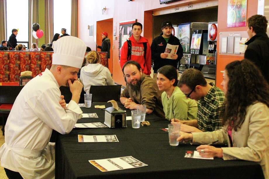 """Campus chefs from local universities gathered at Fairfield University on March 12 to vie for culinary supremacy in the first annual """"Battle of the Chefs: Pro Chef Throw Down. Were you SEEN?"""" Photo: Aryanne Pereira / Hearst Connecticut Media Group"""