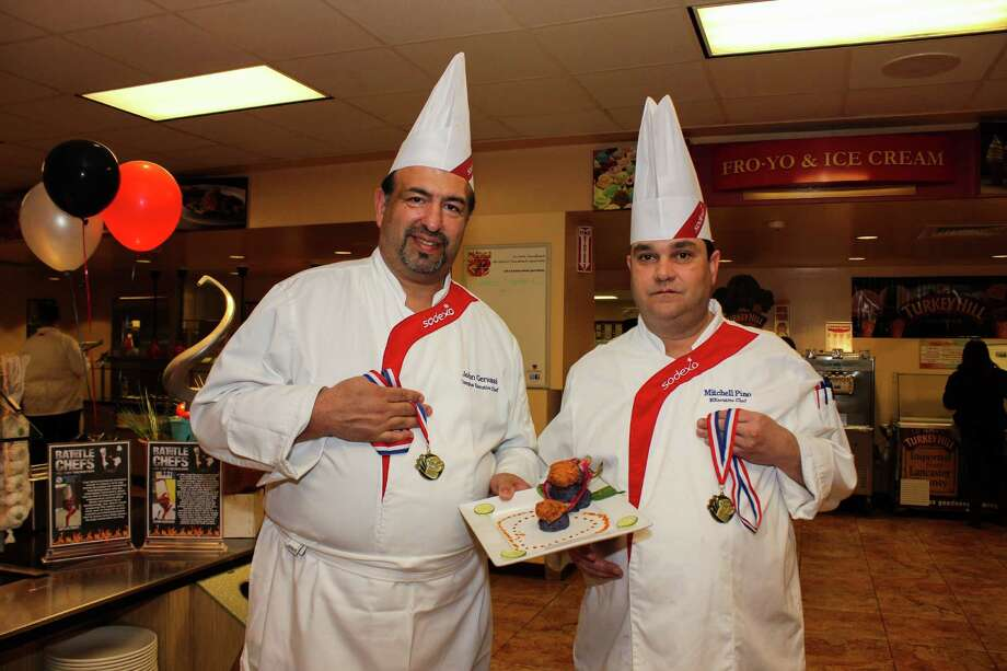 "UNH Executive Chef John Gervasi & Assumption Dining Services Executive Chef Mitch Pino joined together as Gator Boys to win the Battle of the Chefs Competition. Were you SEEN?"" Photo: Aryanne Pereira / Hearst Connecticut Media Group"