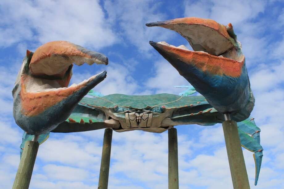 "One of several public art displays, the ""Big Blue Crab"" is a larger version of the original that fronted a restaurant in the 1950s and 60s. Photo: Karen-Lee Ryan, For The Express-News"