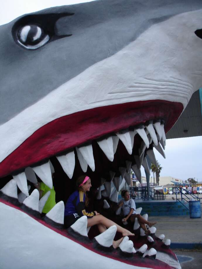 Shark jaws make for a popular photo backdrop. This one at Destinations, is one of the three in Port Aransas. Photo: Audrey Lee, San Antonio Express-News