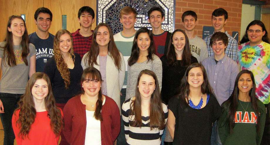 Members of the Staples High School Class of 2014 who will graduate with high honors include, back row from left: : Sarah Fox, Steven Sobel, Warren Schorr, Charles Jersey, Nicholas Stern, Jack Cody, Charles Sonenclar and Ben Goldschlager; middle row: Carly Steckal, Katherine Cion, Eliza Llewellyn, valedictorian, Deanna Baris and Amanda Mezoff; front row: Ariana Sherman, Emma Moskovitz, Liana Sonenclar, Melissa Beretta, salutatorian, and Anais Mitra. Photo: Contributed Photo / Westport News