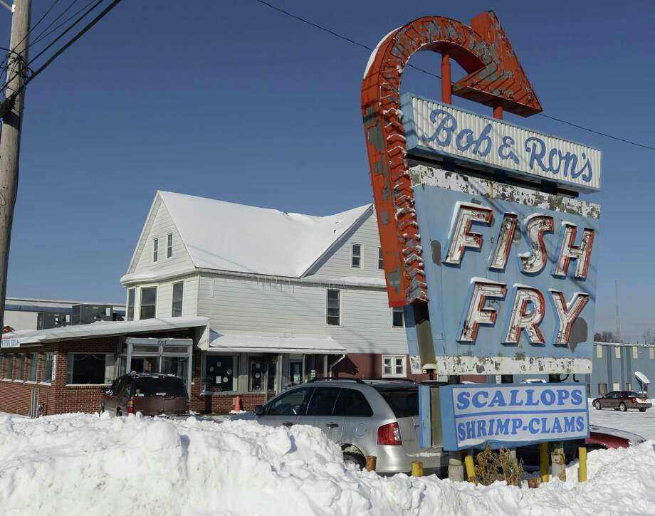 The iconic sign in front of the Bob & Ron's Fish Fry Friday Jan. 3, 2014 in Albany, N.Y.    (Skip Dickstein / Times Union) Photo: Skip Dickstein / 00025233A