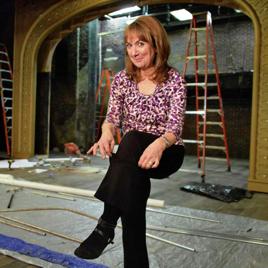 """Benita Zahn, who's making her Cap Rep debut as a stripper in """"Gypsy,"""" shows a little ankle on the unfinished stage set Wednesday, Feb. 26, 2014, in Albany, N.Y.  (John Carl D'Annibale / Times Union) Photo: John Carl D'Annibale / 00025891A"""