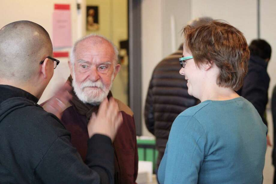 "Playwright-actor Athol Fugard is greeted by Long Wharf Theatre staff in New Haven on the first day of rehearsal for his new play ""The Shadow of the Hummingbird"" which starts performances Wednesday, March 26. Photo: Contributed Photo / Connecticut Post Contributed"