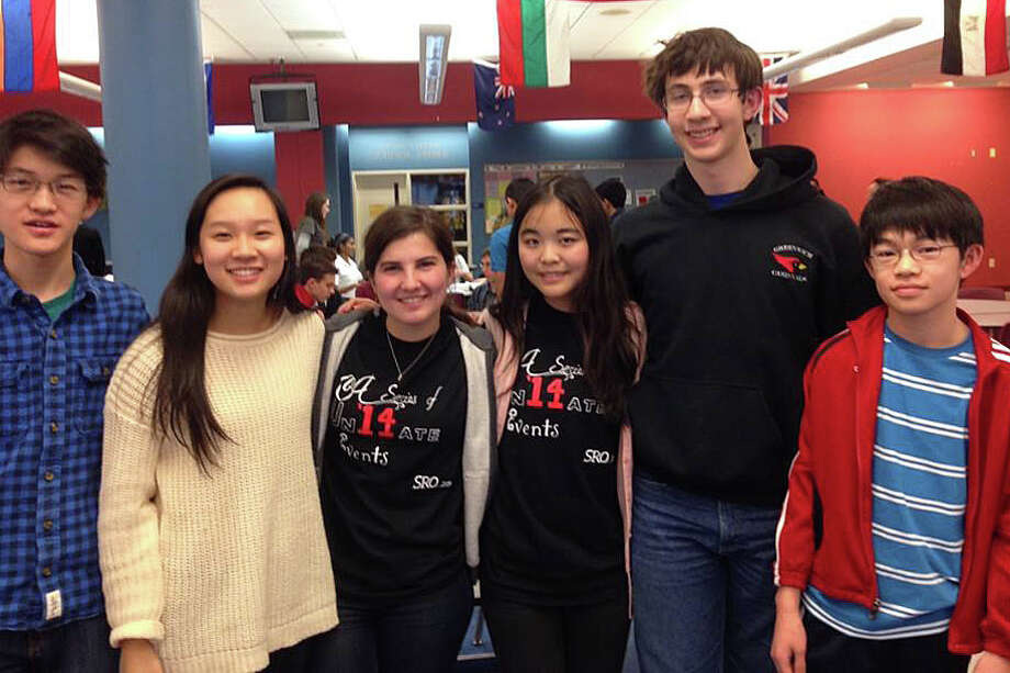 From left, the members of the GHS math team who competed in the March 5 Fairfield County Math League match: Andrew Ma, Julia Wang, Elisa Martinez, Fiona Young, Michael Kural and Steven Ma. Photo: Paul Schott, Anne W. Semmes / Greenwich Time