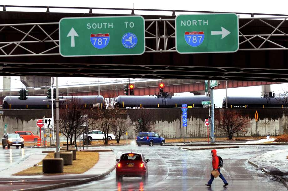Oil tankers are parked at the end of Madison Avenue, along Interstate 787 and the Hudson River, on Wednesday, March 12, 2014, in Albany, N.Y. (Cindy Schultz / Times Union) Photo: Cindy Schultz / 00026115A