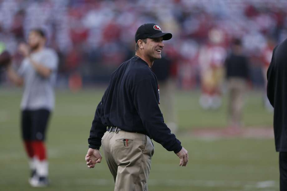 Head coach Jim Harbaugh might have stuck up for Martin, but ultimately the tackle must play well. Photo: Beck Diefenbach, For The Chronicle