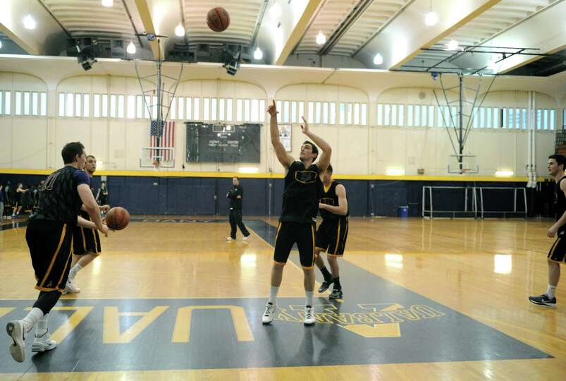 The UAlbany basketball team practices on Wednesday March 12, 2014 in Albany, N.Y. The UAlbany men's