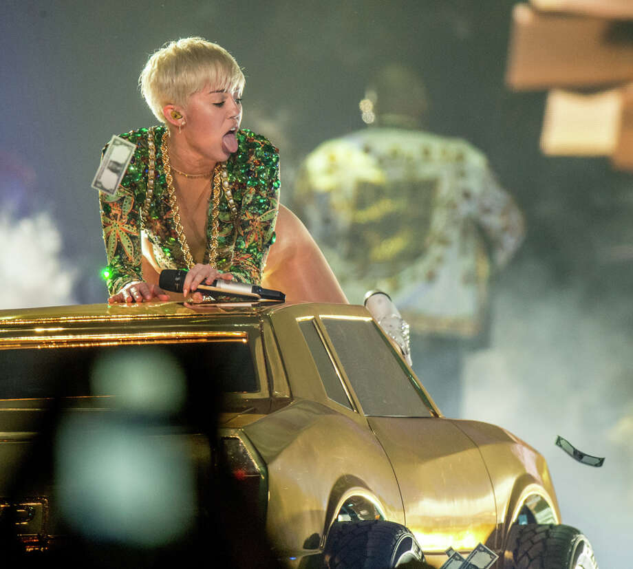 """Singer Miley Cyrus performs her """"Bangerz"""" tour at the Honda Center on Feb. 20, 2014, in Anaheim, Calif. Photo: Christopher Polk, Getty Images / 2014 Getty Images"""
