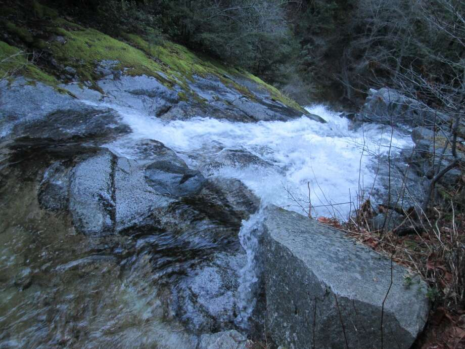 Midway at Whiskeytown Falls, you tower over a brink at a central cascade Photo: Tom Stienstra/SF Chronicle