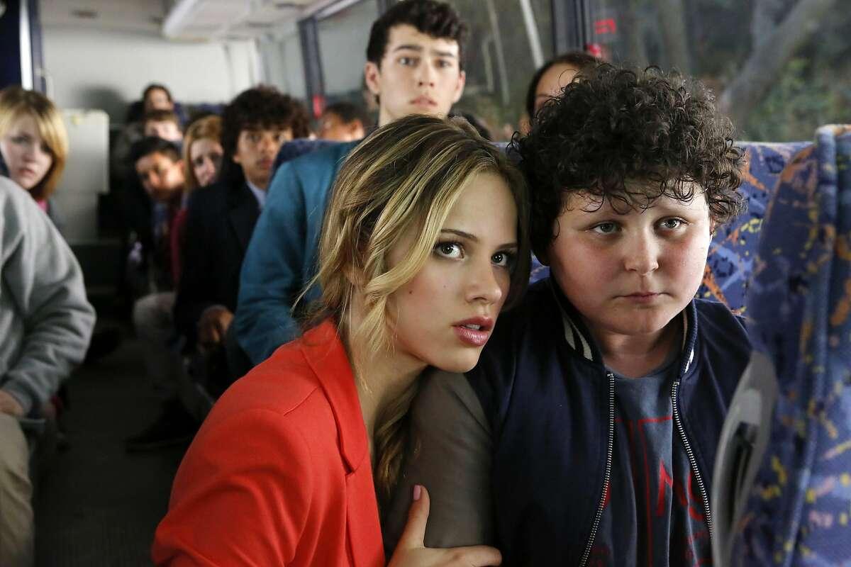 CRISIS -- Pilot -- Pictured: (l-r) Halston Sage as Amber Fitch, Joshua Erenberg as Anton Roth