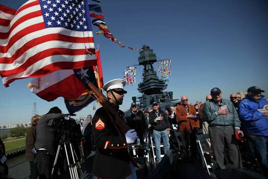 Presentation of Colors aboard the USS Texas at the start of the Crew Reunion and Centennial Commissioning Celebration of the Battleship USS Texas on March 12, 2014, in Houston. Photo: Mayra Beltran, Houston Chronicle / © 2014 Houston Chronicle
