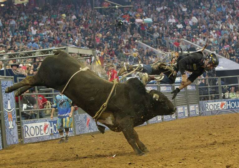 The bull Rock N Roll bucks off Chad Besplug in the second round of the Rodeo Houston BP Super Series