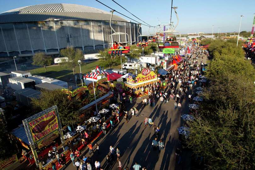 A view of the Houston Livestock Show and Rodeo as seen from the Sky Ride from 58-feet high in Relian