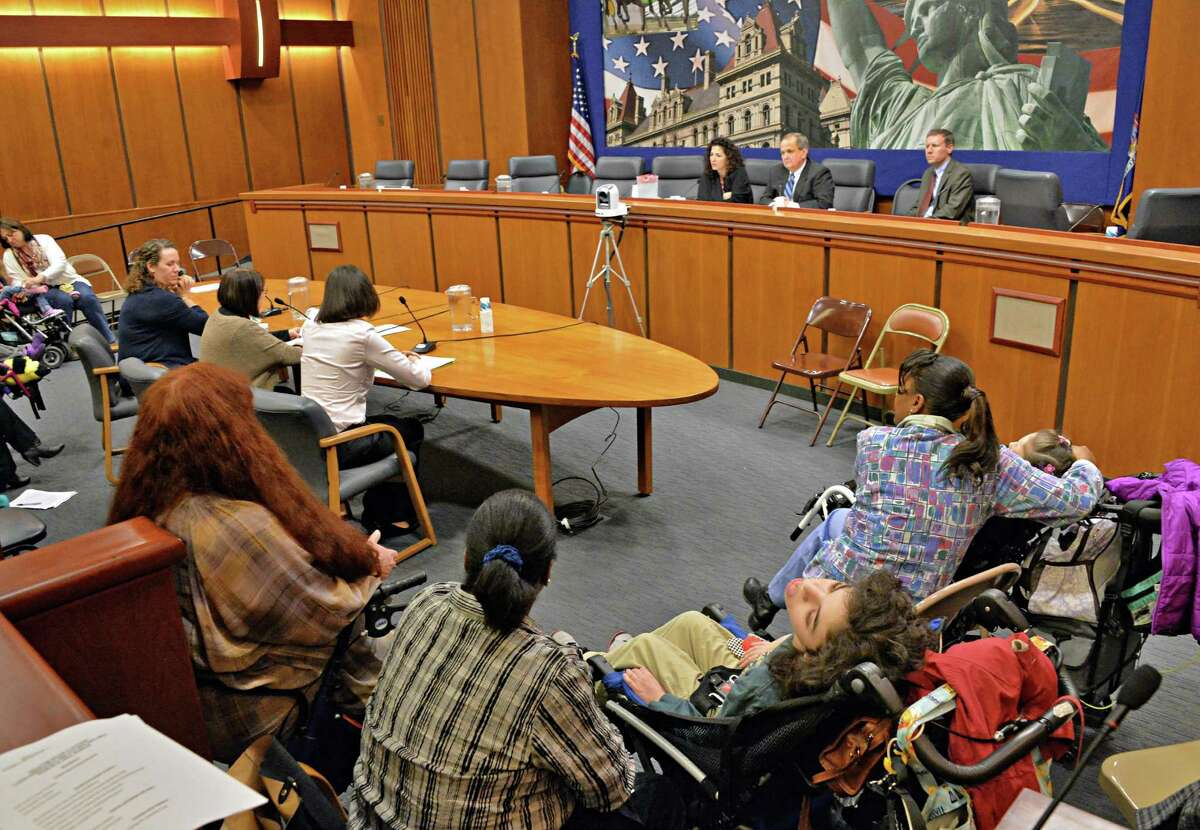 Family members give testimony during a NYS Senate hearing on legalizing marijuana Wednesday, March 12, 2014, in Albany, N.Y. (John Carl D'Annibale / Times Union)