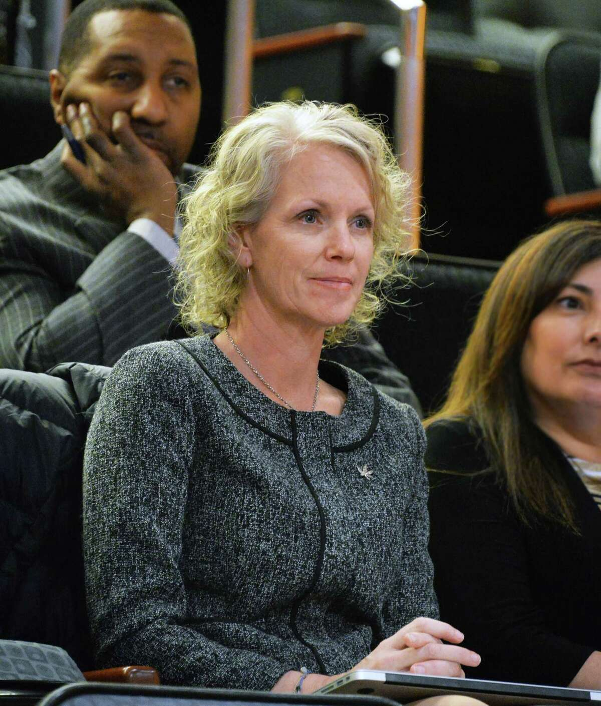 Meg Sanders, CEO of the Denver based Gaia Plant Based Medicine, listens to testimony during a NYS Senate hearing on legalizing marijuana Wednesday, March 12, 2014, in Albany, N.Y. (John Carl D'Annibale / Times Union)