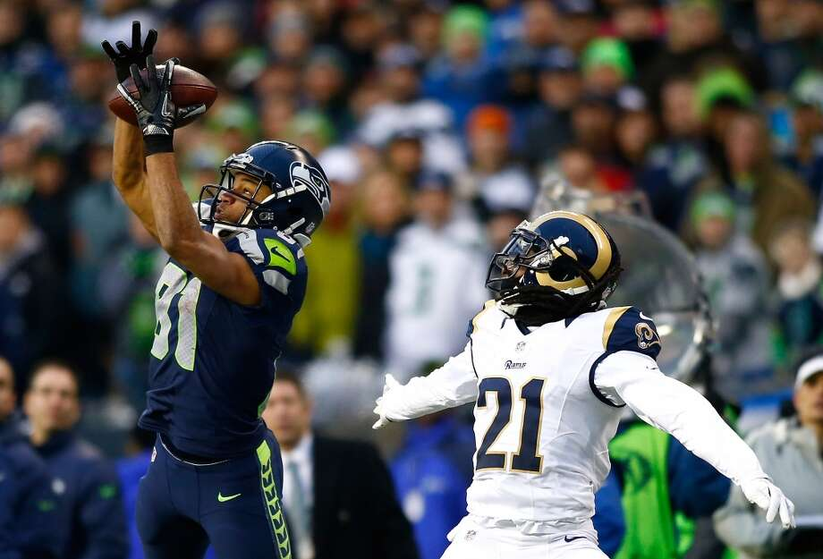 Dec. 29, 2013 — St. Louis Rams at SeahawksIn Seattle's final regular-season game, Tate jumps up for an impressive catch, turns around and takes it to the end zone for a 47-yard touchdown. The Seahawks top the Rams 27-9, sealing their first-round bye on the road to their eventual victory in the Super Bowl.Watch the video on NFL.com Photo: Jonathan Ferrey, Getty Images