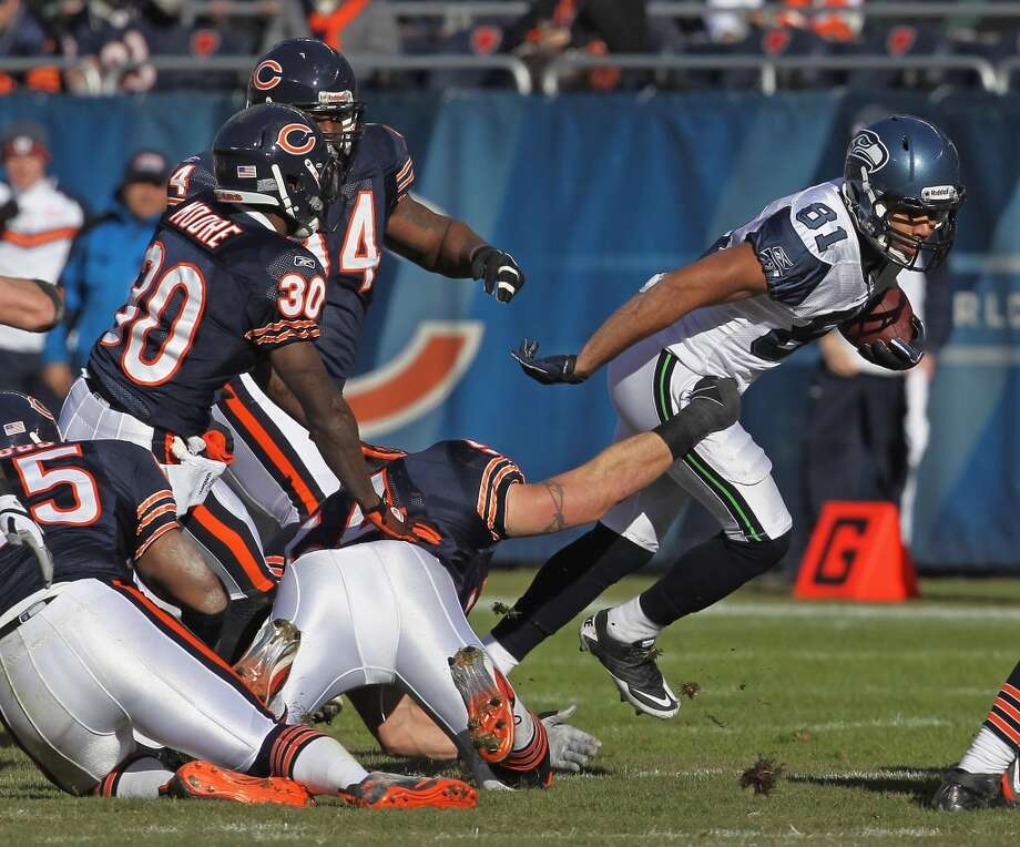 Dec. 18, 2011 — Seahawks at Chicago Bears  In his second NFL season, Tate snags a pass from QB Tarvaris Jackson, sheds three tackles and sprints up the field for a gain of 33 yards. Seattle beats the Bears 38-14.  Watch the video on NFL.com Photo: Jonathan Daniel, Getty Images