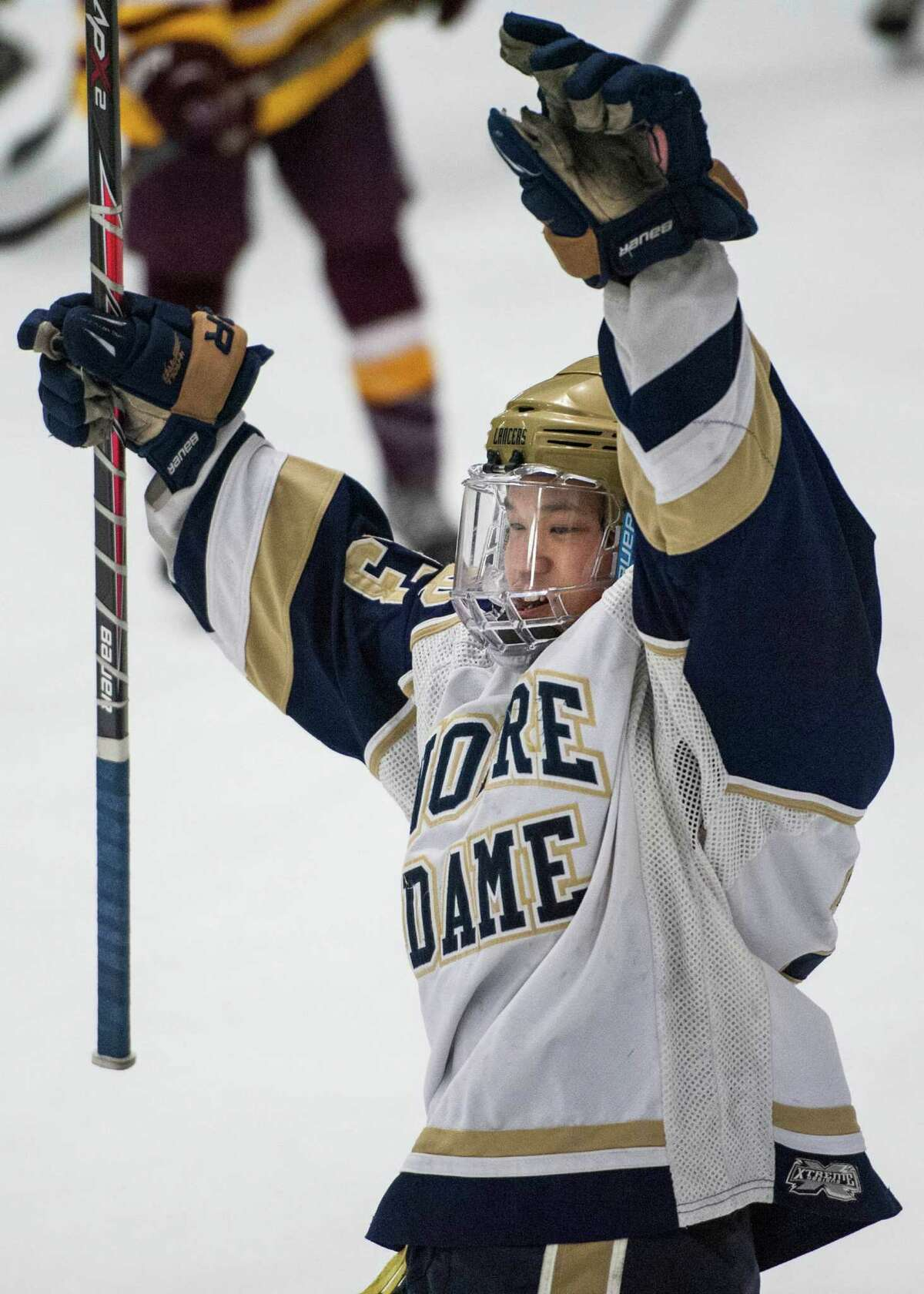 Notre Dame Fairfield high school's Jonny Suporn celebrates his team scoring a goal in the first period of a first round game of the CIAC division I boys ice hockey tournament against St. Joseph high school played at Milford Ice Pavilion, Milford, CT on Wednesday, March, 12th, 2014.