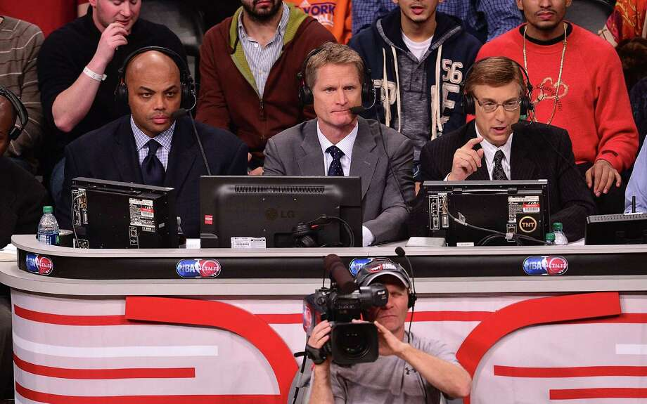 Steve Kerr (center), flanked by Charles Barkley and Marv Albert, pondered a chance to coach the Knicks before becoming the Warriors head coach. Photo: James Devaney / WireImage / 2013 James Devaney