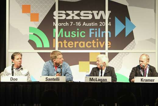 AUSTIN, TX - MARCH 12:  (L-R) Musician John Doe, GRAMMY Museum Executive Director Bob Santelli, Ian McLagan, President & CEO, Maniac Records and musician Wayne Kramer speak onstage at It's Only Rock & Roll: Fifty Years of the Rolling Stones during the 2014 SXSW Music, Film + Interactive at Austin Convention Center on March 12, 2014 in Austin, Texas. Photo: Travis P Ball, Getty Images / 2014 Travis P Ball