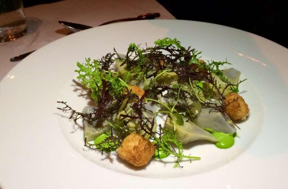 Artichoke salad with crispy goat cheese balls, Castelvetrano olives, mizuna and green goddess dressing ($12)
