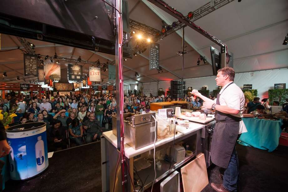 Tyler Florence gives a demonstration at the 2012 SF Chefs event. Photo: Marc Fiorito, Gamma Nine Photography/SF Chefs