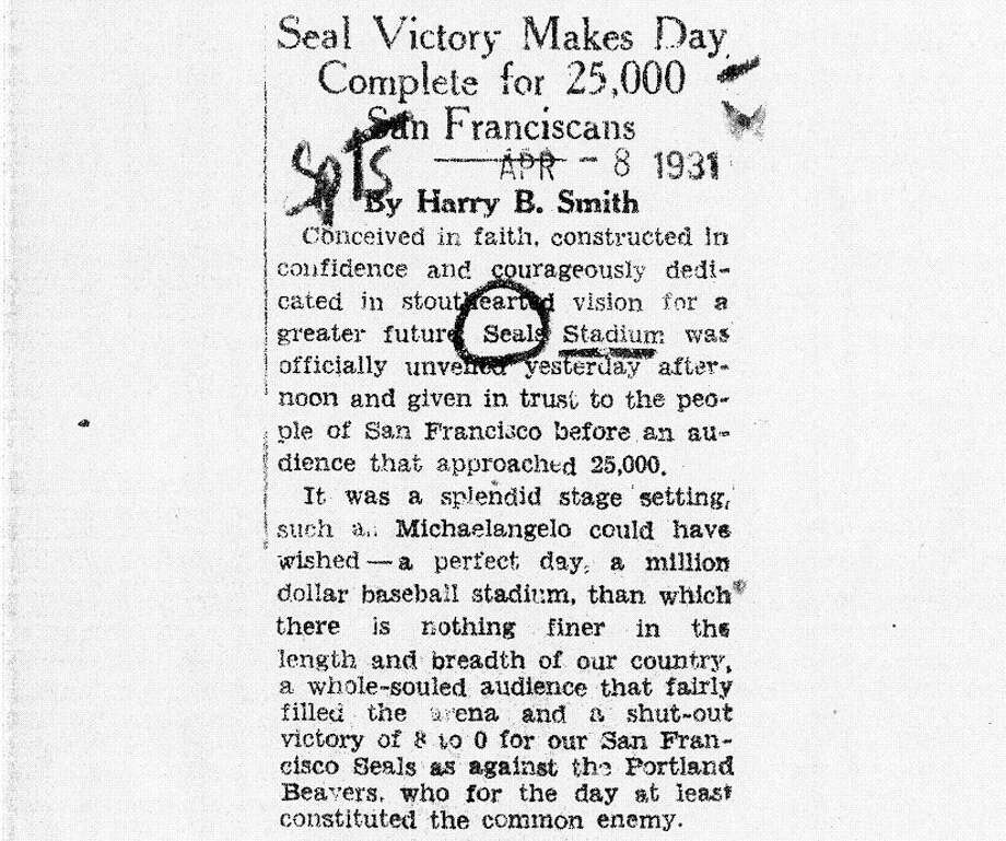 April 8, 1931: Seals Stadium opens. Once again in San Francisco, hyperbole rules the day.