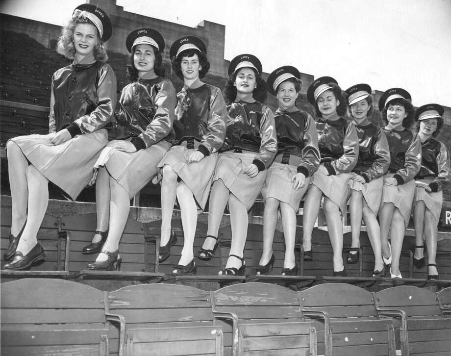 "April 18, 1945: Seals Stadium boasted the first female ushers. They had a tanning lamp inside the stadium. ""Since our girls represent California,"" the head Usherette told the Chronicle, ""they must look healthy and sunkist at all times."" Photo: FRANCIS STEWART, Photo By Francis Stewart / FRANCIS STEWART STUDIOS"