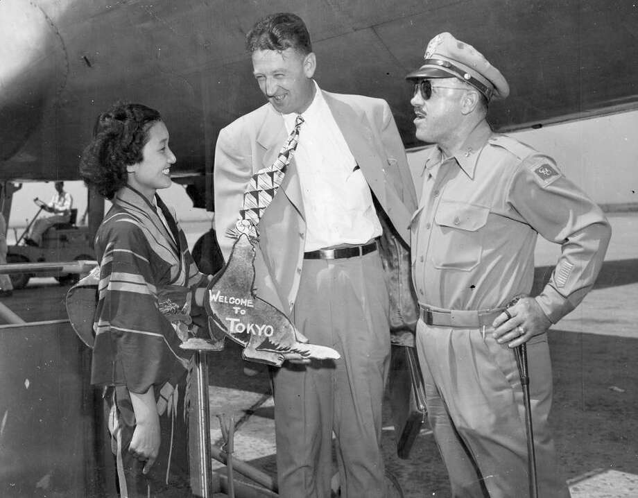 """July 29, 1949: The Seals were instrumental in bringing baseball to Japan. O'Doul had been an ambassador for the sport since before WW II. Charles H. Graham touches down in Tokyo on a goodwill tour. Does anyone else have the urge to watch """"Gomer Pyle""""? Photo: AP"""