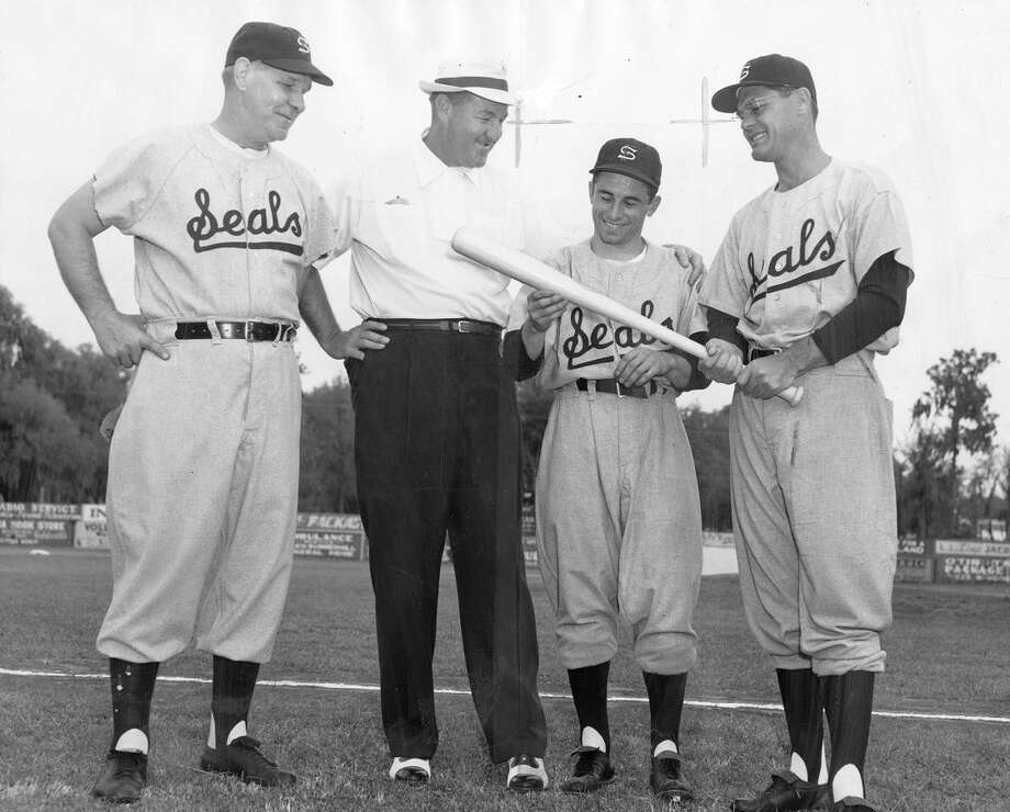 March 19, 1956: After some tough years, the Seals assembled one last great squad, winning a pennant in their final year at the stadium. Pictured are Mace Brown, Johnny Murphy, Albie Pearson and Eddie Joost. Everyone in the '50s had great names. Photo: Horace Heley Photos