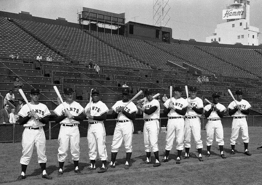 April 8, 1958: The Giants' lineup included Mays, Orlando Cepeda, Hank Sauer and Jim Davenport. Rookie outfielder Felipe Alou was also on the team. Photo: Art Frisch, The Chronicle