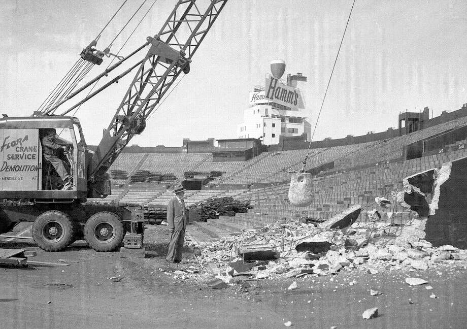 Dec. 3, 1959: OK, this is a continuation of the conversation from last slide, but does anyone know where the Seals Stadium home plate is now? As the wrecking ball takes its toll, the Hamm's brewery chalice sheds a little tear. Photo: Chronicle File