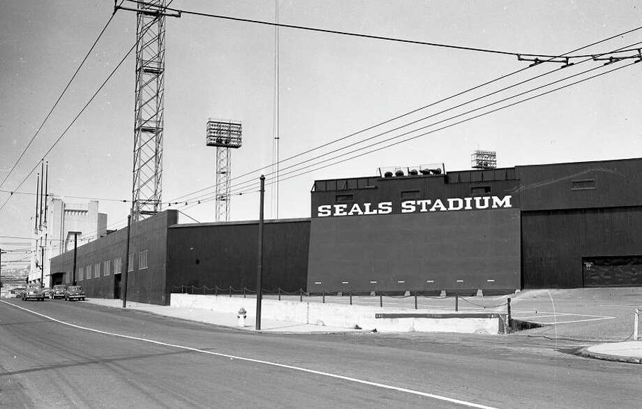 April 1951: Here's the structure from the back side of the center field wall. When the stadium was razed, this became the heart of a new retail center. Photo: Chronicle File
