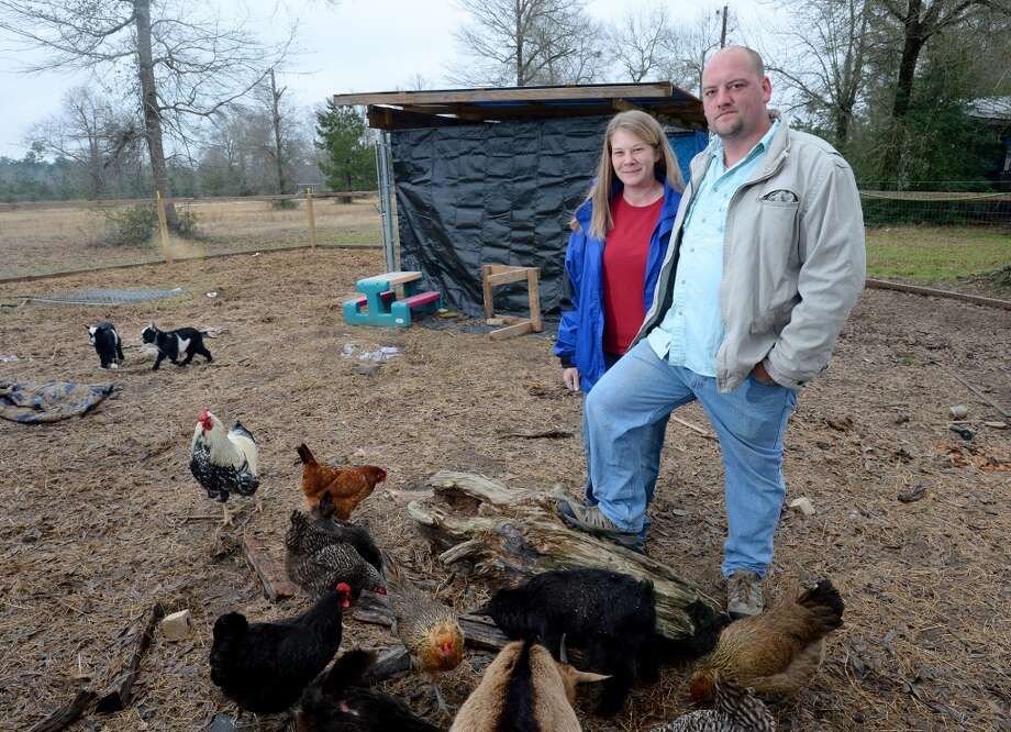 Angie Dickerson and Eddie Dickerson raise farm animals at their home to sell goods at the Beaumont Farmer's Market.  Photo taken Wednesday, March 05, 2014 Guiseppe Barranco/@spotnewsshooter