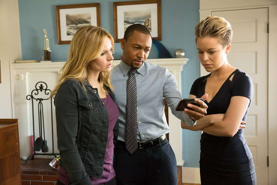 "Kristen Bell (left), Percy Daggs III and Tina Majorino star in ""Veronica Mars,"" funded, in part, by a Kickstarter campaign. Photo: Robert Voets, Associated Press"