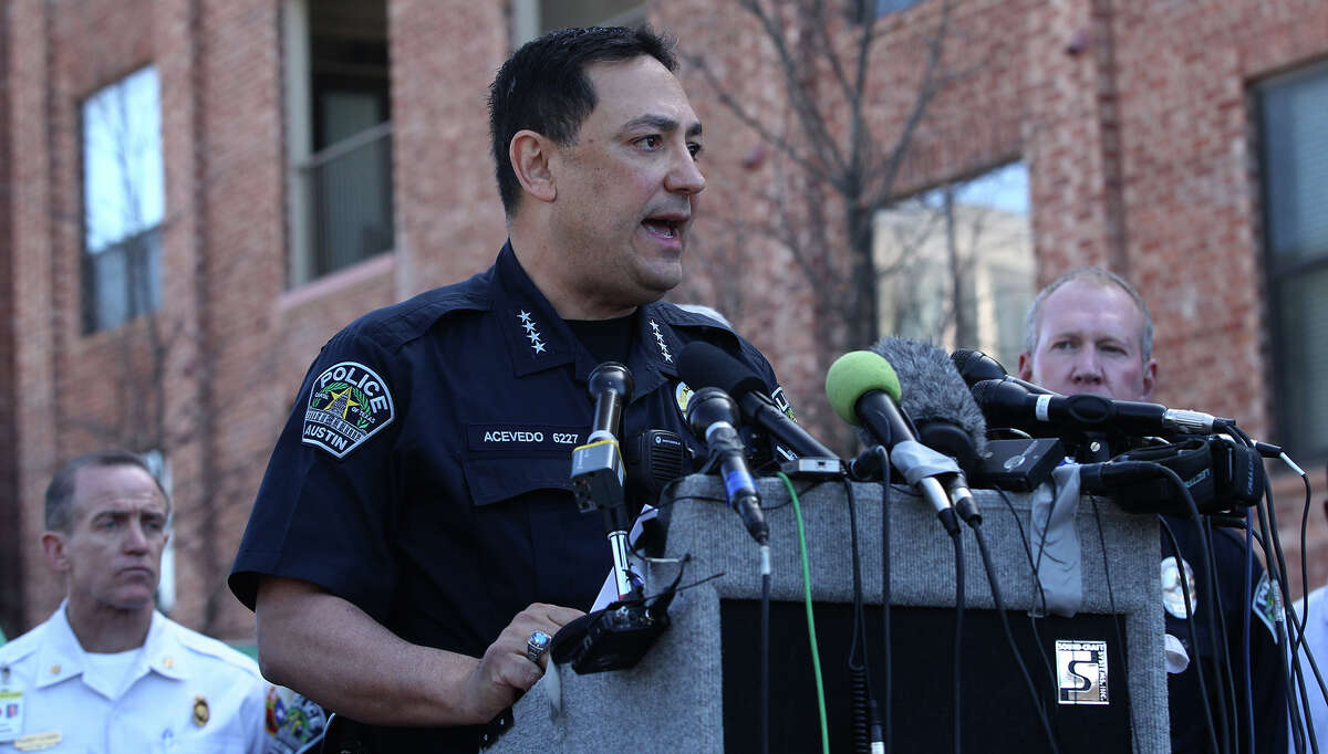 Austin Police Chief Art Acevedo speaks Thursday March 13, 2014 in downtown Austin after two people were killed and more than 20 people were injured after a man in a car attempted to evade police at about 12:30 a.m. The driver of the vehicle sped down a barricaded portion Red River street where the South by Southwest Music Festival was taking place and hit more than 20 people in his car. A cyclist from the Netherlands was killed and a female riding on a moped was killed. The suspect, a black adult male, was tazed and apprehended and will face capital murder charges.