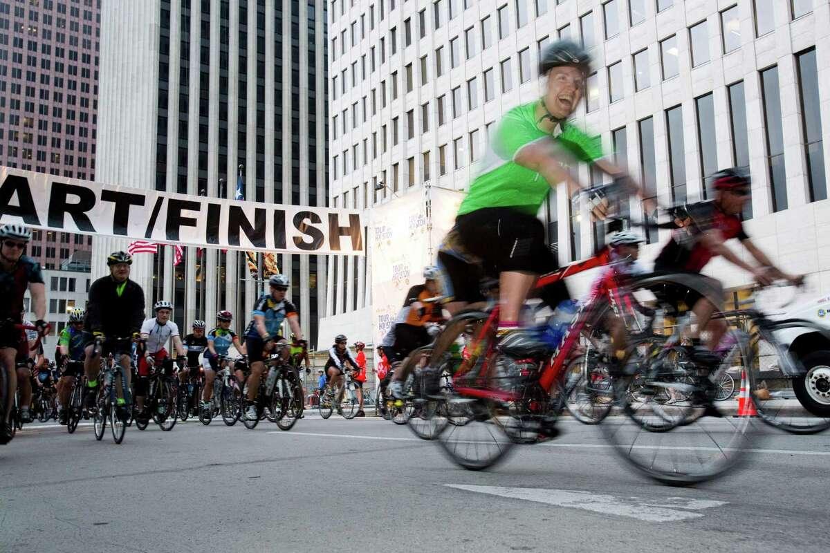 Participants ride in Tour de Houston last year.