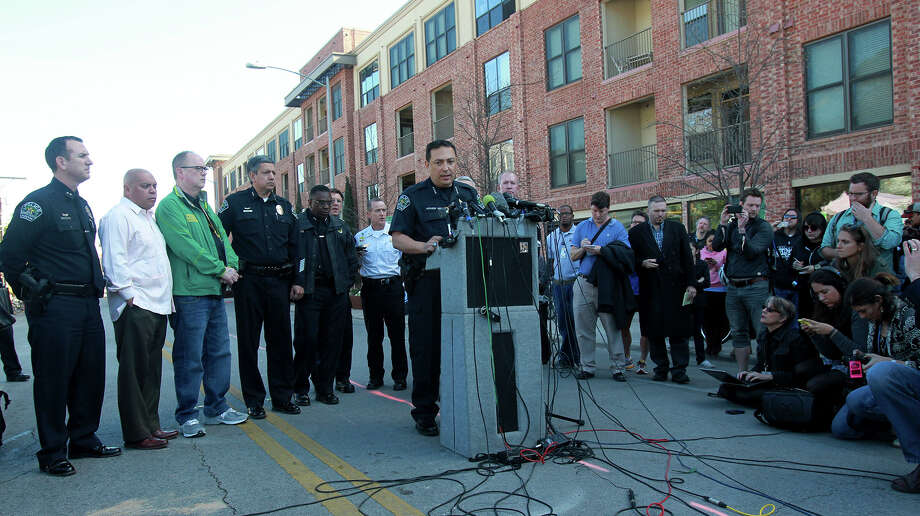 Austin Police Chief Art Acevedo (center, at lectern) speaks Thursday March 13,  at a press conference in downtown Austin after two people were killed and more than 20 people were injured after a man in a car attempted to evade police at about 12:30 a.m. The driver of the vehicle sped down a barricaded portion Red River street where the South by Southwest Music Festival was taking place and hit more than 20 people in his car. A cyclist from the Netherlands was killed and a female riding on a moped was killed. The suspect, a black adult male, was tazed and apprehended and will face capital murder charges. Photo: JOHN DAVENPORT, San Antonio Express-News / ©San Antonio Express-News/Photo may be sold to the public